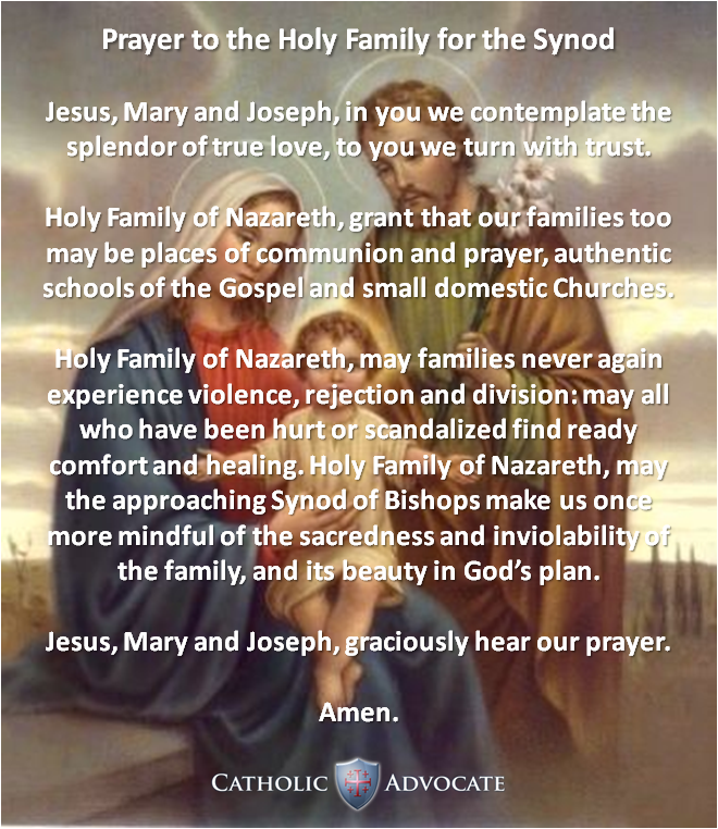 Prayer for the Extraordinary Synod on the Family